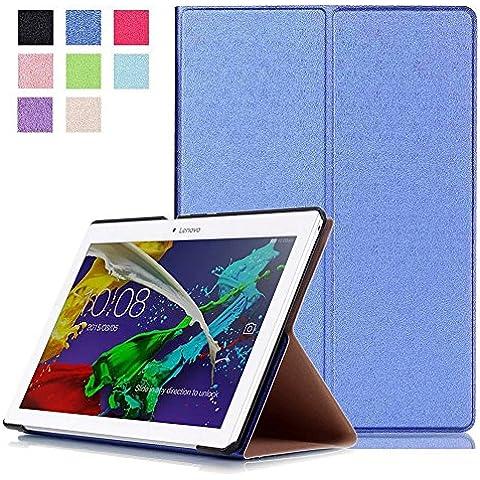 Hevaka LENOVO TAB 2 10-30 Slim Smart Cassette Cinta Cubierta LENOVO TAB 2 X30F un Pequeña Piedra Frente Soporte Tablet PC Hibernar - Azul
