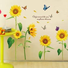 StylishWalls 3D-effect Sunflowers Wall Stickers for LIving Rooms I Wall Stickers for Bedroom with a Beautiful quotation ready to Blossom every Heart around - Cute Smiling Sunflowers and Butterfly Wall Stickers for Home, Office, Hall, Kids Room, Nursery, Play School or Restaurant Decoration for lovely women, men, girls, boys, couples, asians and everyone else to glorify the wall paints (PVC Vinyl, 120 cm * 100 cm Finished Size on Wall, Self-adhesive & Safe Wall Sticker, LARGE)