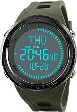Kompass Herren-Armbanduhr Digitale Sport-Armbanduhr mit großem Zifferblatt mit LED-Uhren Armee wasserdicht Stoßfest Armbanduhr