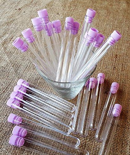 Test Tube Shots, transparent, 25Stück Kunststoff Röhren mit Lavendel Kappen -