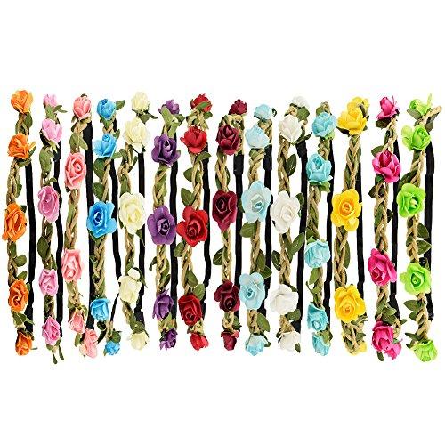 comprare on line Tomkity 14 Pezzi Multicolore Ghirlande Fasce del Fiori con Il Nastro Elastico Regolabile prezzo