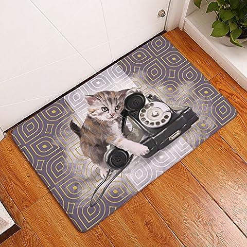 Yj Ours Lovely Chiot Imprimé Chat rectangle Paillasson d'entrée Tapis antidérapant Tapis de sol Home Decor Tapis de cuisine chemin de sol Intérieur ou extérieur Zone Tapis, Cat 5, 40,7 x 61