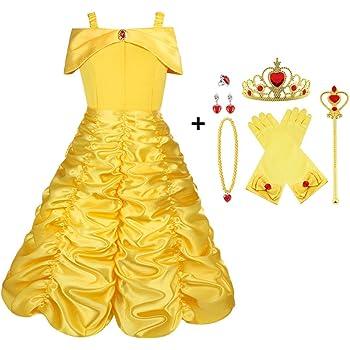 95597e34adb7 Vicloon Costume da Principessa Belle,9 Pezzi Bambine Principessa Costume  Gonna con Tiara, Guanti, Bacchetta Magica, Anello, Collana per Cosplay  Festa ...