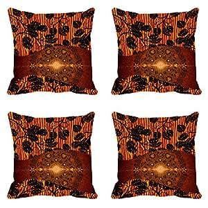 Leaves Brown Digitally Printed Cushion Cover (12x12)