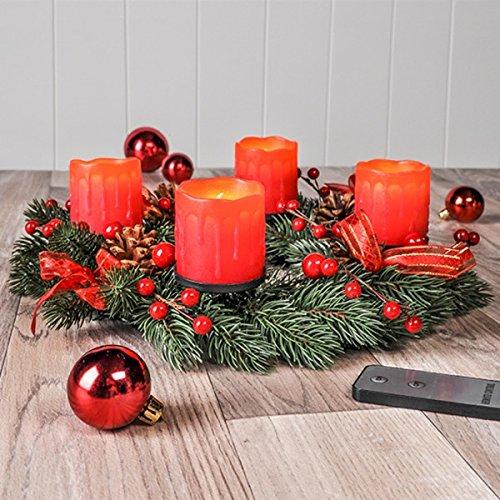 Tannenzapfen-kerze Kranz (Gravidus Adventskranz mit LED Echtwachskerzen und Fernbedienung)