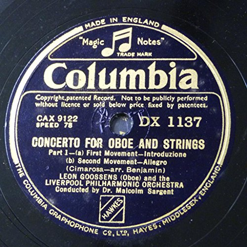 "78rpm 2x12"" set LEON GOOSSENS cimarosa - concerto for oboe & strings - bach sinfonia / easter oratorio"
