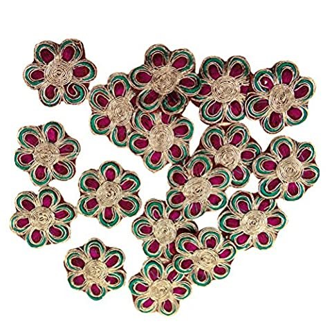 Discussion Floral Design Appliques Magenta Metallic Broderie Robe Patch Sew