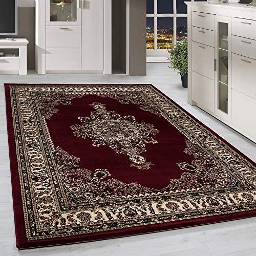 Classico orientale tappeto design con bordo nero rosso beige screziato camera soggiorno corridoio cucina senza frange 6misure, 160 x 230 cm