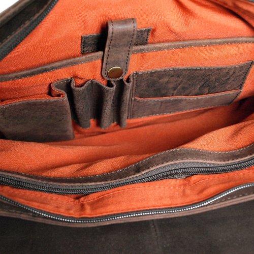Shalimar Outback Wear - Sac bandouillère / Sac écolier modèle Kalgoorlie - Dimensions: 38x29x11 cm - Cuir de buffle huilé von Outback Model: Kalgoorlie Marron Foncé