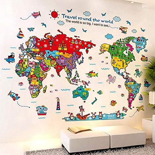 Wandtattoos & Wandbilder Schlafzimmer Dekoration Gemalt Tier Wandaufkleber Bunte Karte Kinderzimmer Schlafzimmer Größe 60 * 90Cm