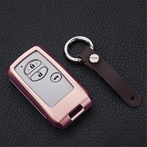 [m. jvisun] Schlüsselanhänger Toyota Schlüsselanhänger Schlüssel, Fernbedienung, passt für Toyota Crown Toyota Land Cruiser Smart Keyless-Start Stop Motor Auto-Schlüssel, Flugzeug Aluminium Spiegel Rückseite Schlüsselanhänger Schutz Hülle, rose gold