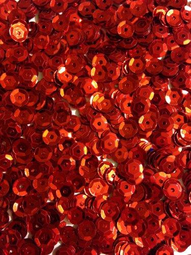1400 Pailletten - Ø 6mm - Riesige Auswahl an Farben (Rot)