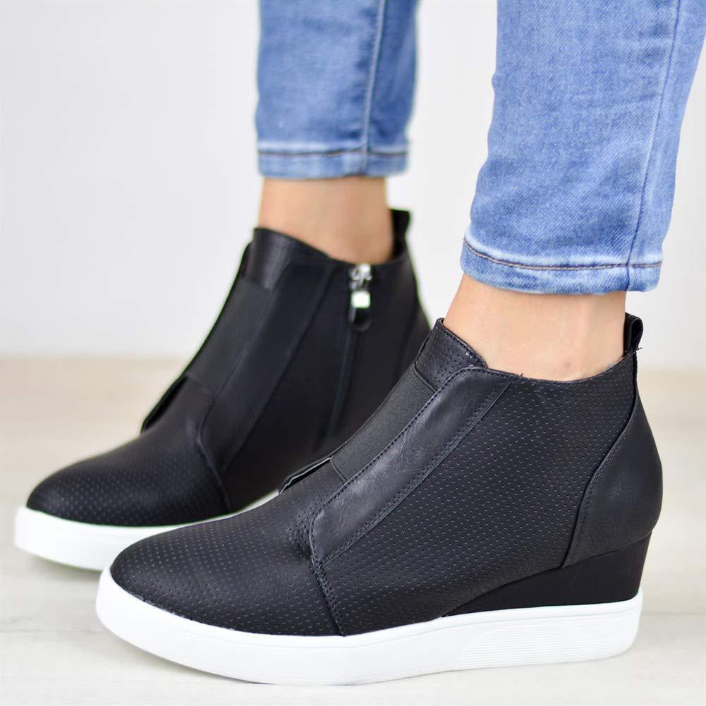 8f52c15fed1 Botines Mujer Cuña Planos Invierno Planas Botas Tacon Casual Zapatos para  Dama Plataforma 5cm Elegante Zapatillas