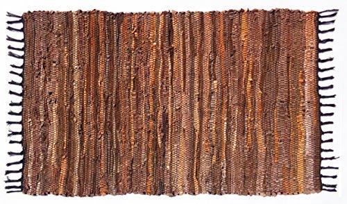 Cotton craft–100% vera pelle chindi tappeti–colori–tan multi e grigio multi–strisce di vera pelle intrecciata a mano si vedono questo attraente artisan look–completamente reversibile, pelle, tan multi, area rug - 2x3 feet