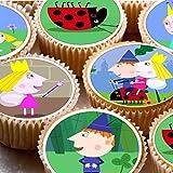 24Cupcake Fée pour gâteaux 4cm sur glaçage–Ben et Holly Petit Royaume
