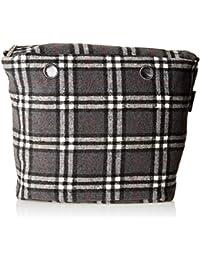 O bag Damen Sacca Check Handtasche, Grau (Grigio), 29x25x9 cm
