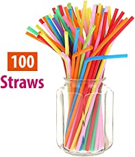 MK Bendable Neck Plastic Drinking Straws, 100 Pcs Small Assorted Color