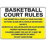 Cancha de Baloncesto normas a su propio riesgo no alimentos vidrio decorativo Signs con refranes-Placa metálica para la pared de aluminio señal de seguridad