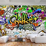 decomonkey   Fototapete Graffiti Jugendzimmer 250x175 cm XL   Tapete   Wandbild   Wandbild   Bild   Fototapete   Tapeten   Wandtapete   Wanddeko   Wandtapete   Streetart Bunt Farbe Ziegel grün orange   FOA0092c5XL