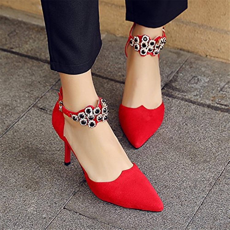 SHOESHAOGE La Primavera Y El Verano, Bien con Una Palabra Hueca Hebilla Sandalias Rojo Zapatos De Novia Zapatos... -