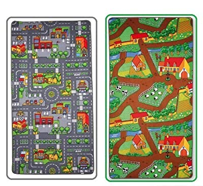 Childrens reversible Roadmap Farmlife Playmat Rug Bedroom Playroom Cars Animal Rugs - low-cost UK light shop.
