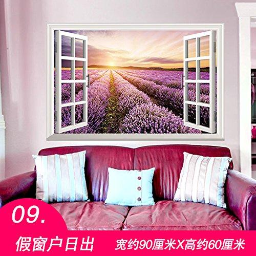 Decke Falscher (ALLDOLWEGE Die modernen Zimmer Wallpaper Wallpaper Selbstklebend 3D Wall Kunst Sticker Wohnheim decke Wände sind wasserdicht, 3D falsche Fenster Sonnenaufgang)