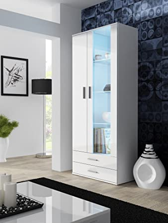 vitrine vitrinenschrank standvitrine soho hochglanz (korpus: weiß ... - Küche Hochglanz Oder Matt