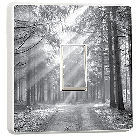 Forest Nature landscape photo lightswitch cover sticker (7199901) black & white