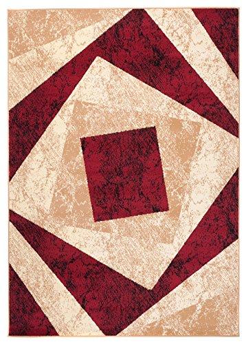 Tapiso Designer Teppich Wohnzimmer Teppich SCHÖN Muster IN ROT BEIGE Creme (120x170 cm)