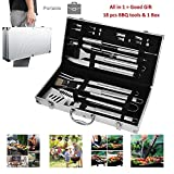 CERCHIO Kit Ustensiles Barbecue Lot de 18 Outils Barbecue en Acier Inoxydable Set d'Ustensiles Barbecue Malette pour Barbecue