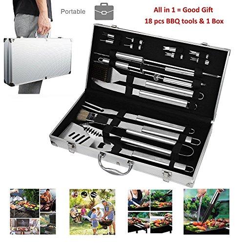 CERCHIO Kit Ustensiles Barbecue Lot de 18 Outils Barbecue en Acier Inoxydable Set...