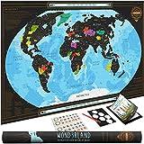 Wond3rland Cartina Geografica del Mondo da Grattare con Paesi Delineati | Mappa Poster di Alta qualità | Idea Regalo per Viaggiatori & Tracciatura di Viaggio | BONUS eBook + Set di Accessori Completo