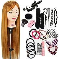 Neverland Beauty 76cm cabezas de ejercicios para peinar peinado cosmétologie práctica maniquí muñeca 100% de cabello sintéticas + Elefante & Hairdressing herramientas accesorios Set # 27