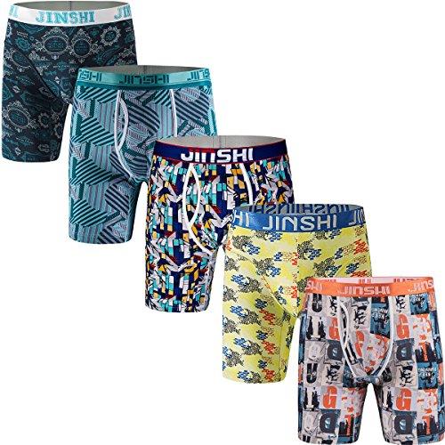 JINSHI Herren 5er Pack Lenzing Boxer Briefs Topqualität Mesch Langes Bein Trunks Flexible Retroshorts Gemischt Größe L -