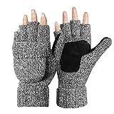 Kata Winter Warme Fingerlose Strickhandschuhe mit Fäustlinge Klappe(Grau)