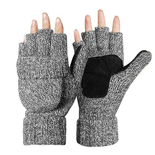 Kata Winter Warme Fingerlose Strickhandschuhe mit Fäustlinge Klappe(Grau) (Leder-wolle-handschuhe)