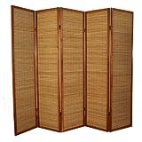 Paravent en bois brun avec bambou de 5 pans -PEGANE-
