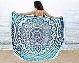 Mandala Life ART Bohemin Mandala Wandteppich - Strand Decke - 180cm - Runden Wandbehang - Yoga Matte - Picknick Sofa Werfen - Baumwolle Blaue Mandala