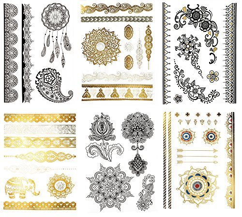 Large Temporary Henna Metallic Tattoos - Over 50 Mehndi Mandala Designs, Gold Silver Black (6 Sheets) Terra Tattoos Shay Collection