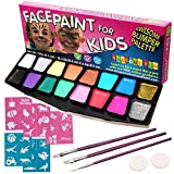 Picture Of Face Paint Kit, BIG BUMPER 16-Pack for Kids with Make-Up Case. Face Painting Party Set with 3 Professional Brushes, 2 Sponges, 14 Colours, Stencils, Glitter Gel, FREE eBook. Safe Non-Toxic Water-Based