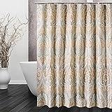 DECMAY Anti-schimmel Duschvorhang 180x180cm Wassserdicht Anti-Bakteriell Duschvorhang Vintage Badvorhang mit 12 Duschvorhangringe für Badezimmer Römisches Muster