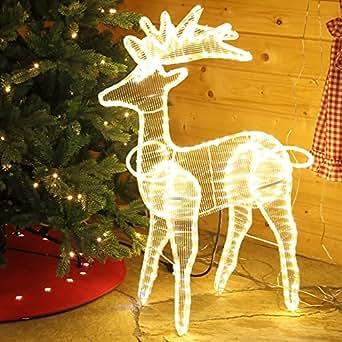 led rentier beleuchtet 89 cm warmwei blinkend f r au en weihnachten von gartenpirat. Black Bedroom Furniture Sets. Home Design Ideas