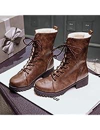&ZHOU Botas otoño y del invierno botas cortas mujeres adultas 'cargadores de Martin Knight botas a32 , brown , 41