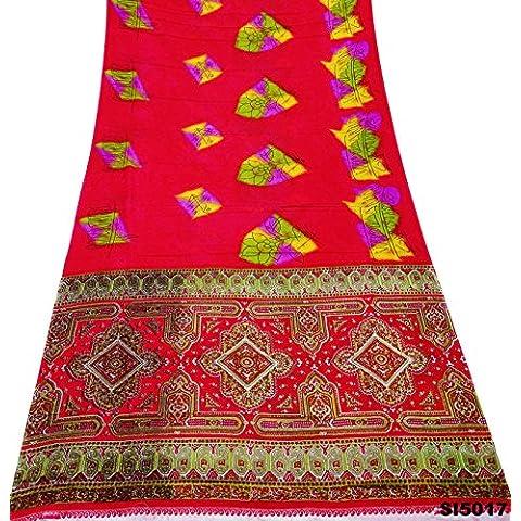Sari Indio Material De Envoltura De La Vendimia Hecha A Mano De Color Rosa Pareo Impreso Mezclan La Decoración Sari De Seda Drapeado Utilizado 5Yd