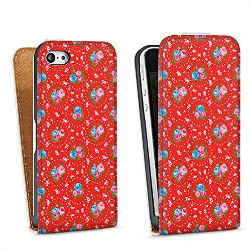 Apple iPhone 5 Housse étui coque protection Fleurs Fleurs Vieille école Sac Downflip blanc