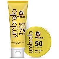 Keya Seth Aromatherapy Umbrella Sunscreen with Advance Treatment SPF 75 Solution (100ML) , SPF 50 Powder (50GR) , UVA…
