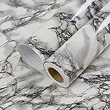 Selbstklebendes Vinyl schwarz weiß marmor glänzend Kontakt Papier für Küche zinntheken Unterschrank Duett Wand Crafts Projekte (60cm x 3m)