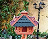 XXL großes Vogelhaus, Gartendeko, große Größen, auch mit vogelhausständer und Silo, ACHTUNG kein Bausatz von amazon oder zum Bemalen aus Holz, mit ROT dunkelrot + BLAU blaugrau E Vogel Futterhaus