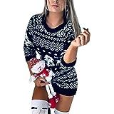 Vestito Maglione Lungo Donna Invernale per Natale a Maniche Lunghe con Disegni Natalizi Lavorato a Maglia Casual Morbido Cald