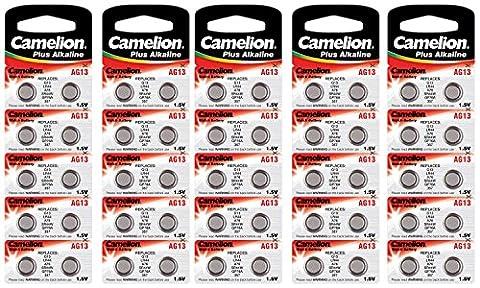 Camelion 12001013B50 Plus Alkaline Knopfzelle (AG13, LR44, LR1154, 357, 50-er